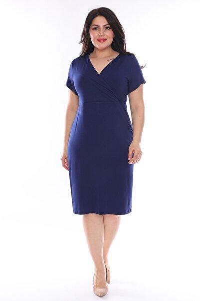 Moday Lacivert Kruvaze Büyük Beden Elbise 25a-0965