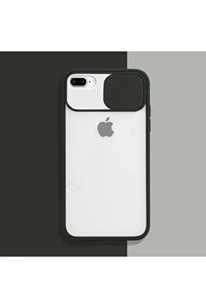 zore Siyah Iphone 7 Plus 8 Plus Sürgülü Kamera Korumalı Silikon Kılıf
