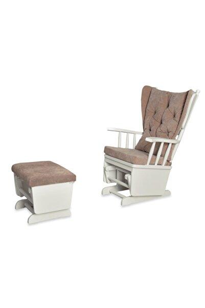 Asedia Mama Beyaz Bej Puflu Sallanan Sandalye