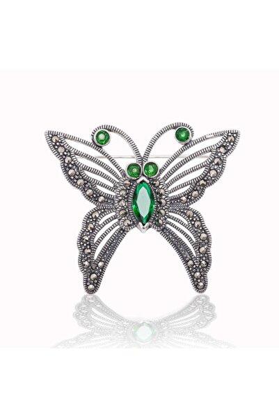 Gumush Gümüş Markazit Taşlı Kelebek Broş