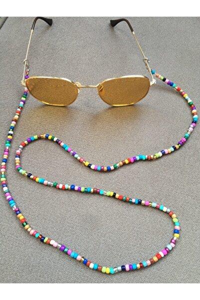Bukosh Karışık Renkli Kum Boncuk Gözlük Zinciri Maske Askısı