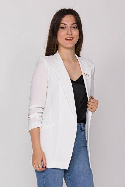 AYHAN Kadın Broşlu Büzgülü Kol Blazer Ceket