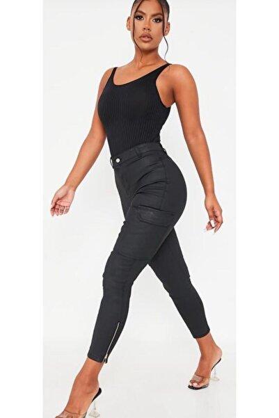 The Ness Collection Siyah Cepli Deri Görünümlü Kadın Kargo Pantolon
