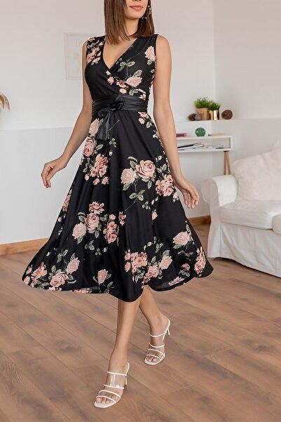 Maxi İdol Kadın Büyük Beden Krep Kumaş Sıfır Kol Kemer Dahil Kruvaze Yaka Gül Desenli Elbise Boy 120cm