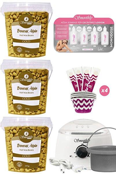 Smoothly Gold Premium Boncuk Ağda Seti, 3 Kutu Ağda Isıtıcı Makine, Tüy Geciktirici Etkili Yağ, Spatula