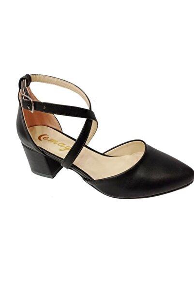 Emay 102 Deri Yanı Açık Kadın Ayakkabı