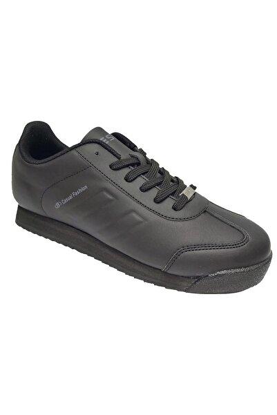 Cheta Best Of 061 Unisex Siyah Deri Bağcıklı Spor Ayakkabı