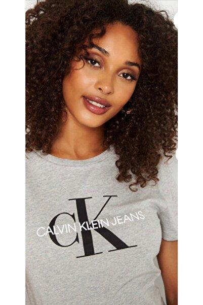 Calvin Klein Kadın Gri Women's Big Logo Printed On Chest T-shirt