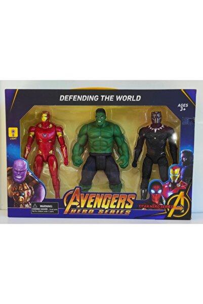 Brother Toys Işıklı Ve Hareketli, 20 Cm. Hulk, Demir Adam Ve Kara Panter 3'lü Karakter Seti