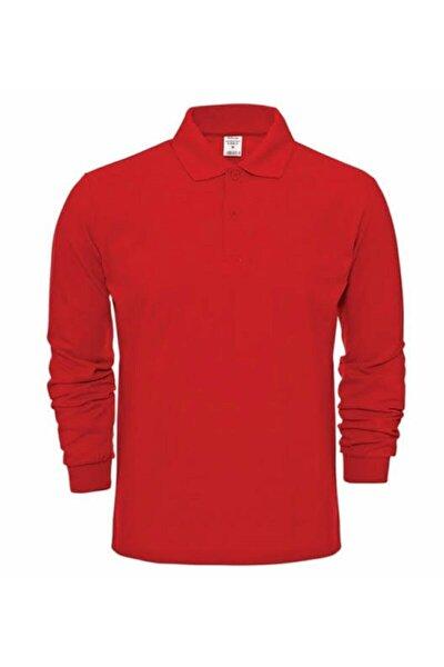nacar çarşı Unısex Polo Yaka Uzun Kol Kırmızı T-shırt