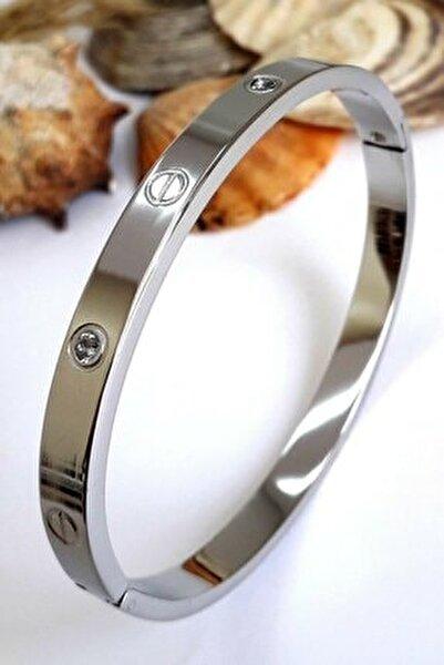 Kadın Gümüş Çelik Kelepçe Taşlı Bileklik
