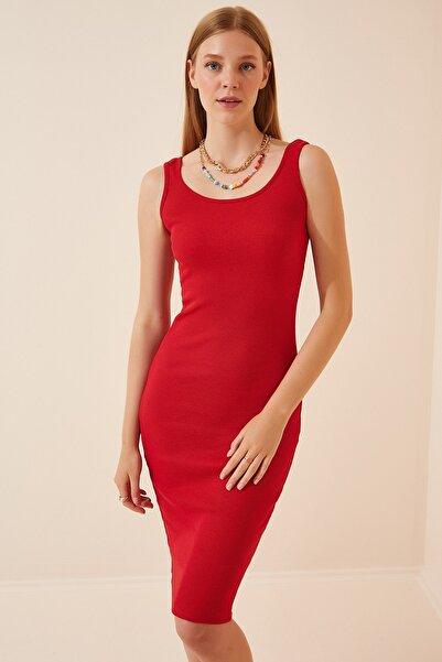Happiness İst. Kadın Kırmızı Askılı Fitilli Örme Elbise  Lİ00063