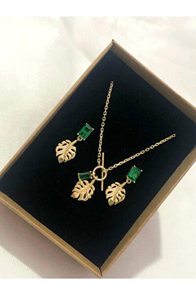 Ra jewels 925 Ayar Gümüş Yeşil Baget Taşlı Yaprak Kolye Ve Küpe Seti