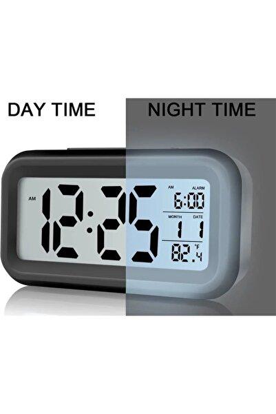 CHELİC Dijital Alarmlı Masa Saati Lcd Ekran Çalar Saat Termometreli Siyah