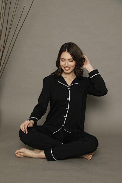 Siyah İnci Siyah-beyaz Pamuklu Likralı Düğmeli Biyeli Pijama Takım