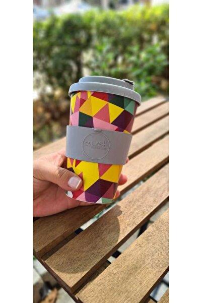 A-MAN DESIGN Splash Coffee Cup Silikon Kapaklı Kahve Bardağı Grafik Desenli 350cc 'kahvene Renk Kat'
