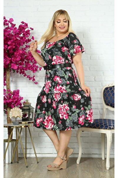 Kheos Özel Tasarım, Büyük Çiçekli Madonna Yaka Ve Deri Kemerli Dökümlü Elbise