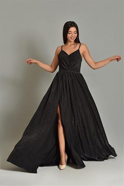 Modakapimda Siyah Ip Askılı Simli Kumaş Yırtmaçlı Abiye Elbise