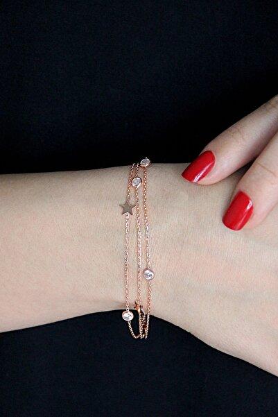 Argentum Concept Yıldızlı Ve Taşlı Gümüş Üç Zincirli Rose Bileklik - B041101