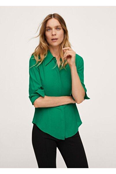 MANGO Woman Kadın Yeşil Gizli Düğmeli Gömlek