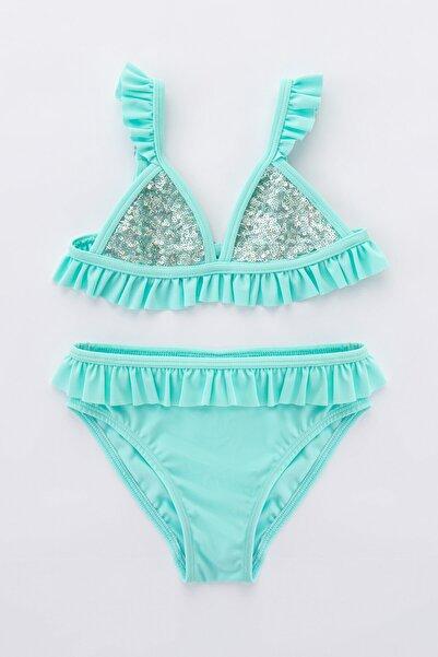 Penti Açık Mavi Kız Çocuk Shinny Mermaid Triangle Bikini Takımı