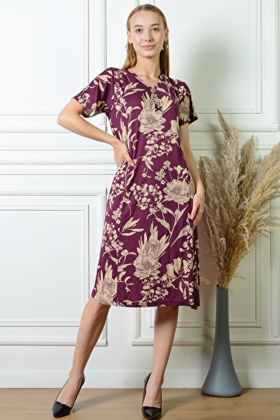 PİNKMARK Pınkmark Kadın Çiçek Desenli Mürdüm Düğme Detaylı Büyük Beden Elbise Pmel25311