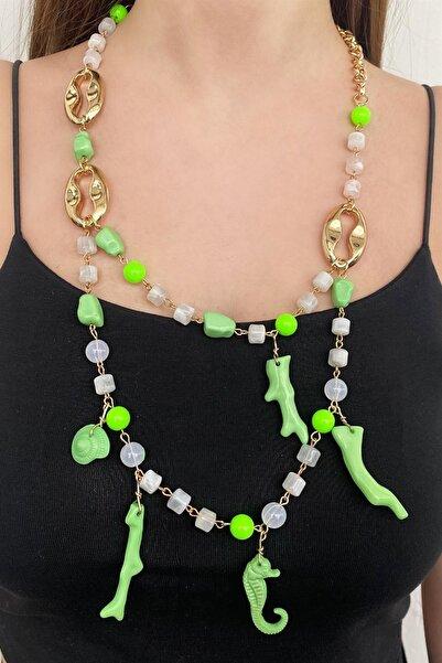 TAKIŞTIR Özel Tasarım Yeşil Renk Uzun Kolye