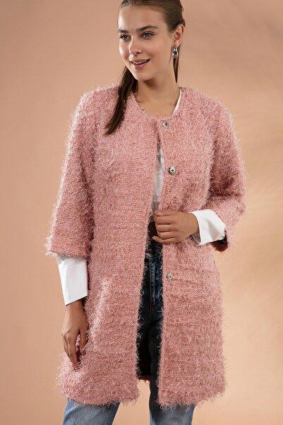 Pattaya Kadın Yakasız Çıt Çıt Detaylı Simli Sakallı Ceket 11065-1