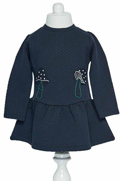 Çikoby Kız Bebek Nakışlı Belden Büzgülü Elbise 6-36 Ay C19w-ck1678
