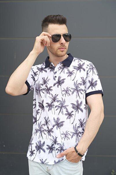 Oksit Palmiye Desenli Slim Fit Polo Yaka Erkek Tshirt
