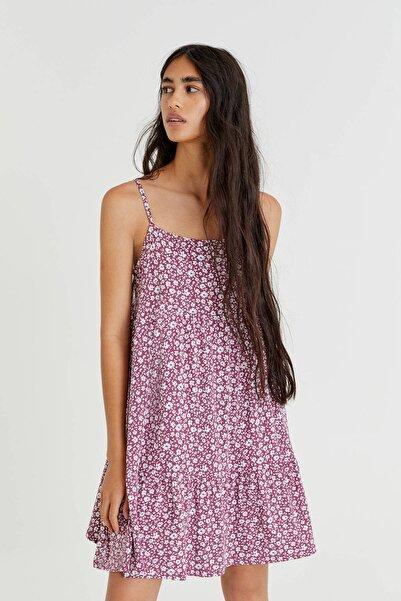 Pull & Bear Dökümlü askılı mini elbise