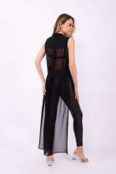 CREATIVE & ELEGANCE Kadın Siyah Arkası Uzun Şifon Gömlek