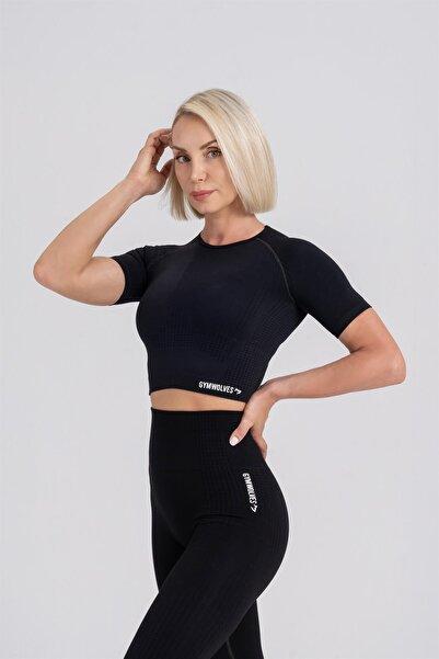 Gymwolves Kadın Kısa Kollu Dikişsiz Spor T-Shirt Crop