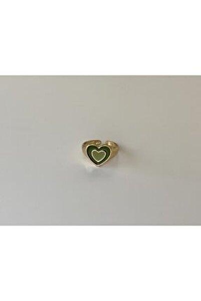 Ayarlanabilir Yeşil Hipnotik Kalp Gold Yüzük