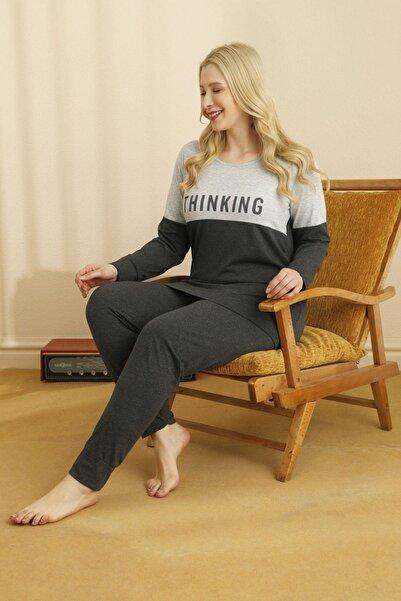 Siyah İnci Pamuklu Likralı Büyük Beden Pijama Takım