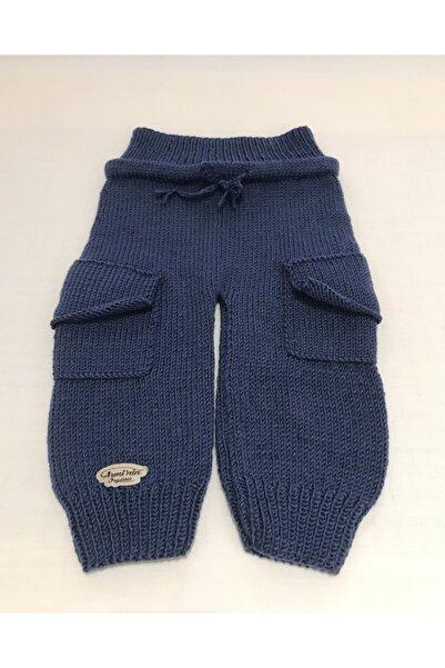 ARMİNİNÖRGÜSÜ Lacivert Bebek Kargo Pantolon 1-2 Yaş El Örgüsü %100 Anti-pilling Akrilik Cepli Baby
