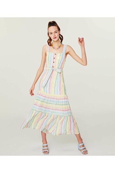 Twist Renkli Çizgili Elbise