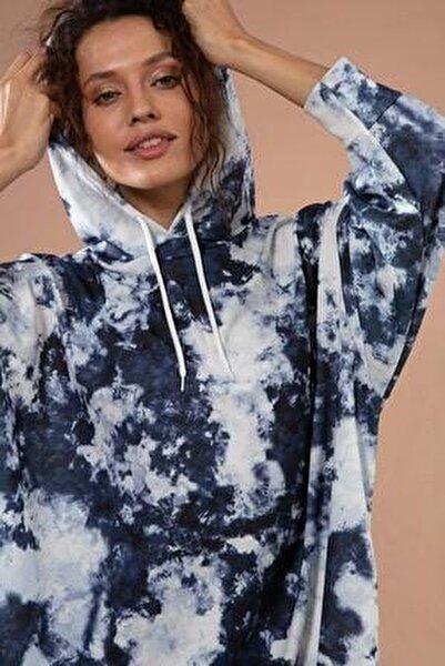 Kadın Batik Desenli Kapşonlu Örme Sweatshirt Y20w110-4125-30