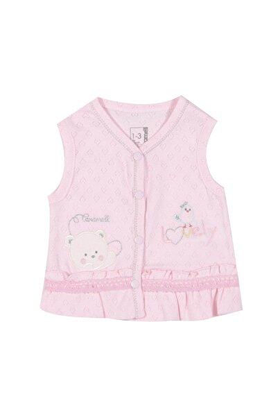 Pattaya Kids Kız Bebek Nakışlı Delikli Yelek 3-12 Ay Crml-ylk4493