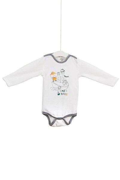 Aziz Bebe Erkek Bebek Nakışlı Çıtçıtlı Body 12-36 Ay Azz001644
