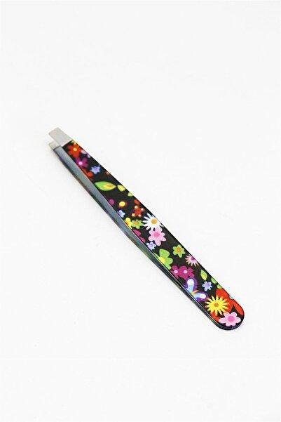 TAKIŞTIR Siyah Renk Çiçek Desenli Cımbız