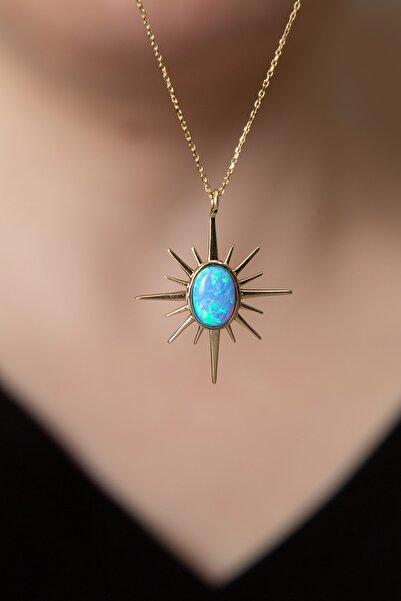 Elika Silver Kadın Mavi Opal Taşlı Kutup Yıldızı Model 925 Ayar Gümüş Kolye