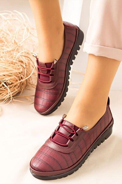 Lal Shoes & Bags Kadın Ortopedik Rahat Babet Spor Ayakkabıı-bordo