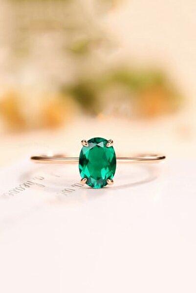 Oval Dişli Model Yeşil Zirkon Taşlı 14 K Rose Altın Kaplama Kadın Yüzük