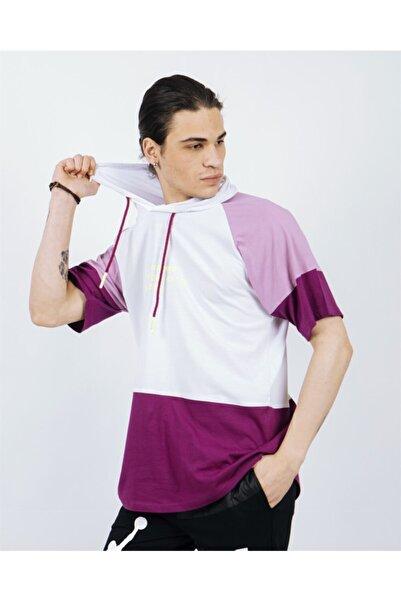 Rocqerx R- 5195 Önü Play The Neon Yazılı Kapüşonlu Parçalı T-shirt