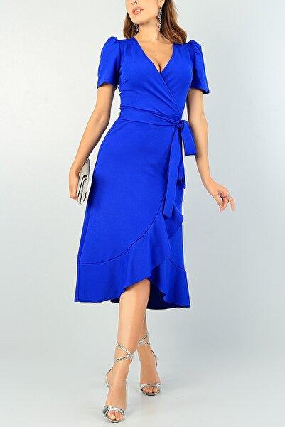 lovebox Kadın Kruveze Yaka Midi Boy Volan Etekli Kuşaklı Saks Mavisi Abiye Elbisesi