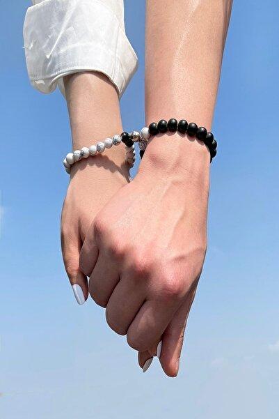 İsabella Accessories İkisi Bir Arada Mıknatıslı Cam Boncuk Sevgili Bilekliği