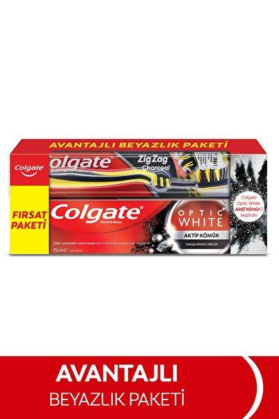 Colgate Optic White Aktif Kömür Beyazlatıcı Diş Macunu 75 Ml + Zigzag Orta Diş Fırçası