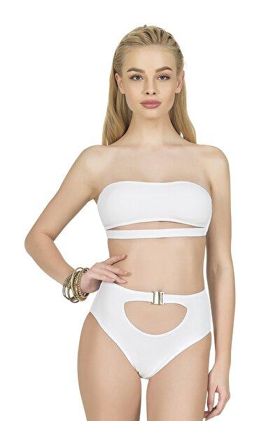 Endeep Kadın Yüksek Bel Aksesuarlı Beyaz Bikini Altı