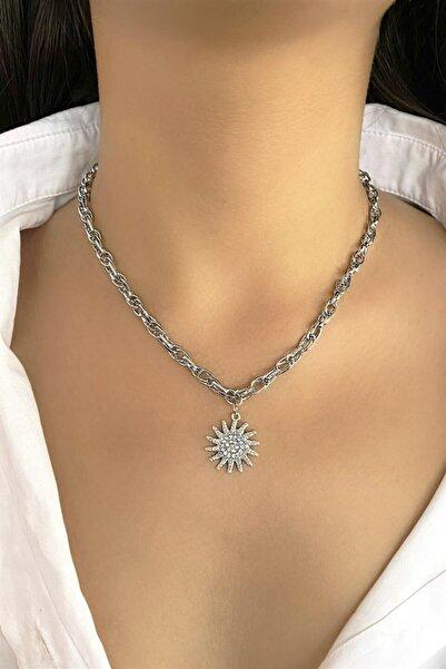 TAKIŞTIR Gümüş Renk Güneş Figürlü Zincir Kolye